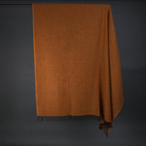 Wonderfully soft Merino Lambswool Throw - Burnt orange with brown tassels