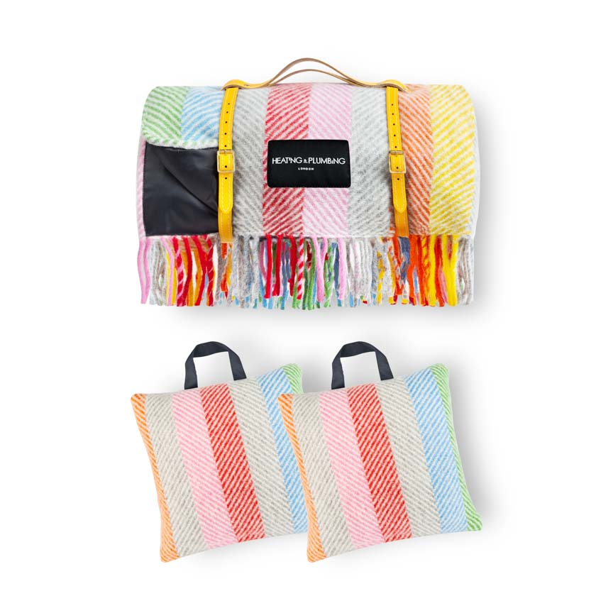 Waterproof Picnic Blanket & 2 Matching Outdoor Cushions - Rainbow Set