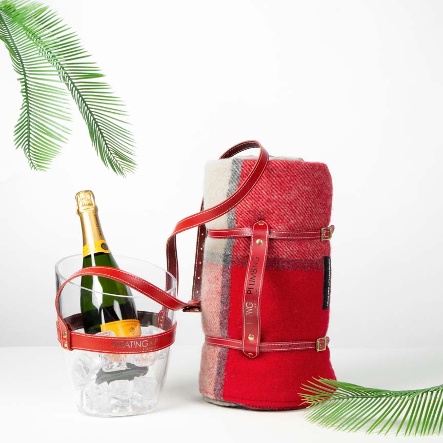 British Picnic Blanket & Portable Champagne Bucket -  Red & Grey Block Check Set