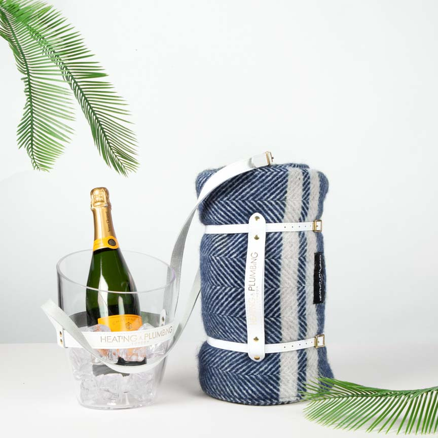 British Picnic Blanket & Portable Champagne Bucket -  Marine Blue with Grey Stripes Set