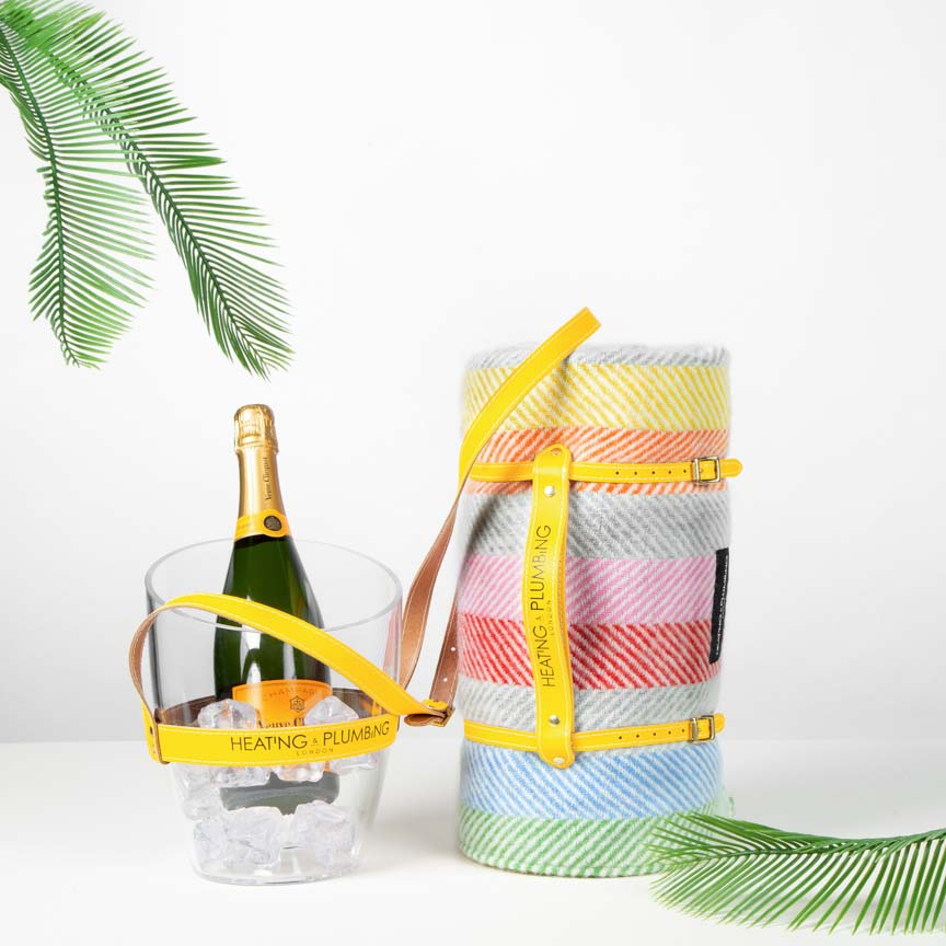 British Picnic Blanket & Portable Champagne Bucket -  Rainbow Set