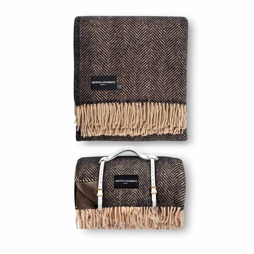 Waterproof Picnic Blanket & Matching Pure New Wool Home Throw -  Coffee Brown & Black Set