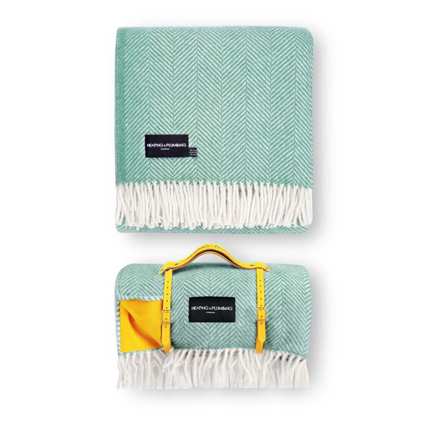 Waterproof Picnic Blanket & Matching Pure New Wool Home Throw -  Mint Green Set