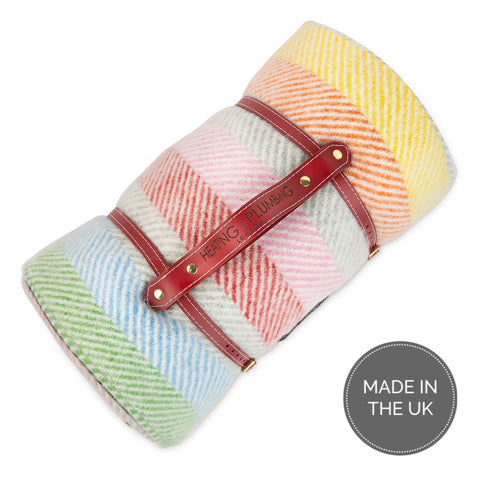 Pure new wool waterproof picnic blanket -  Rainbow