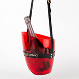 Transparent ice bucket in red