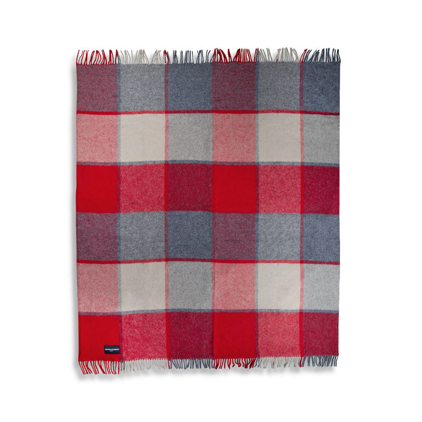 large red and grey  wool picnic blanket with fringe