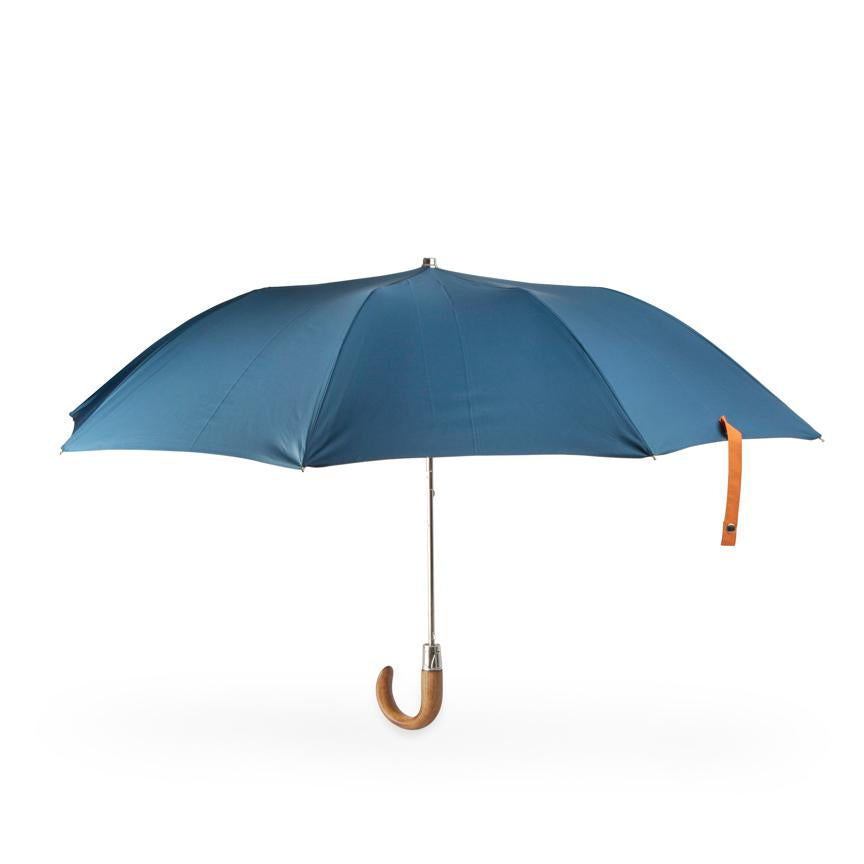 folding British umbrella with wooden handle and mallard canopy