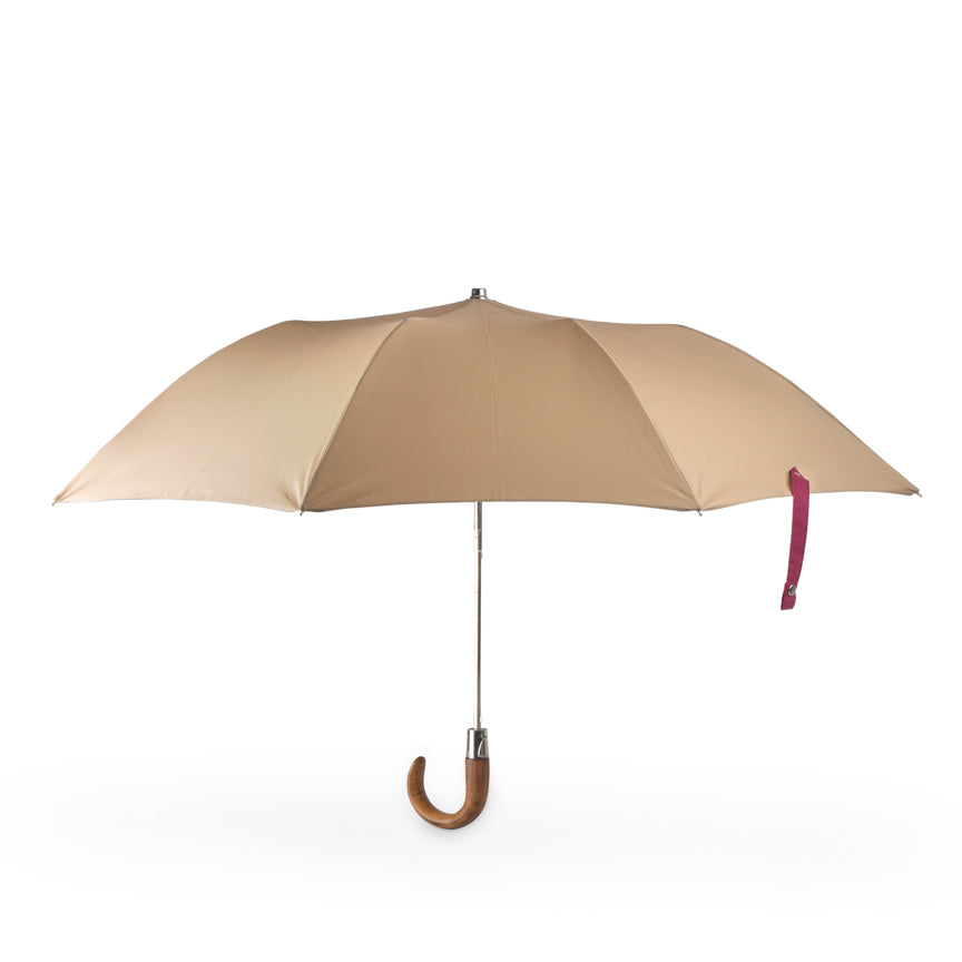 small compact umbrella with wood handle