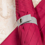 grey tie with Burgundy canopy umbrella