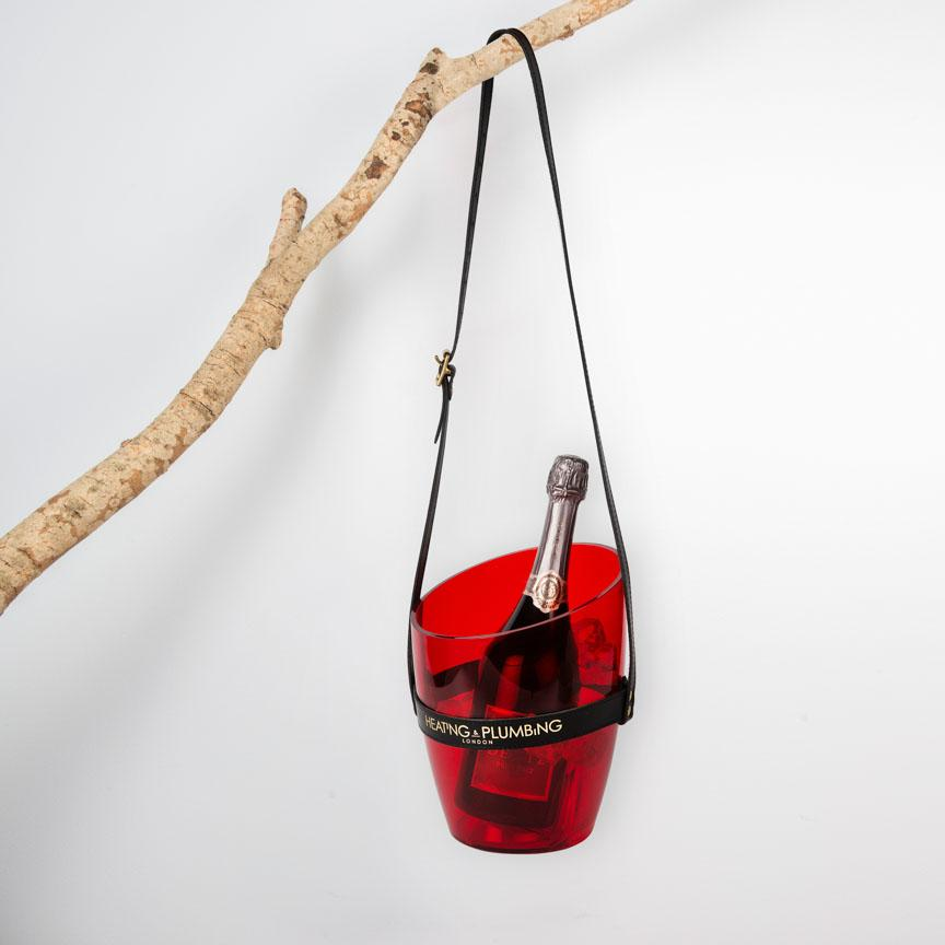 Red transparent hanging champagne bucket
