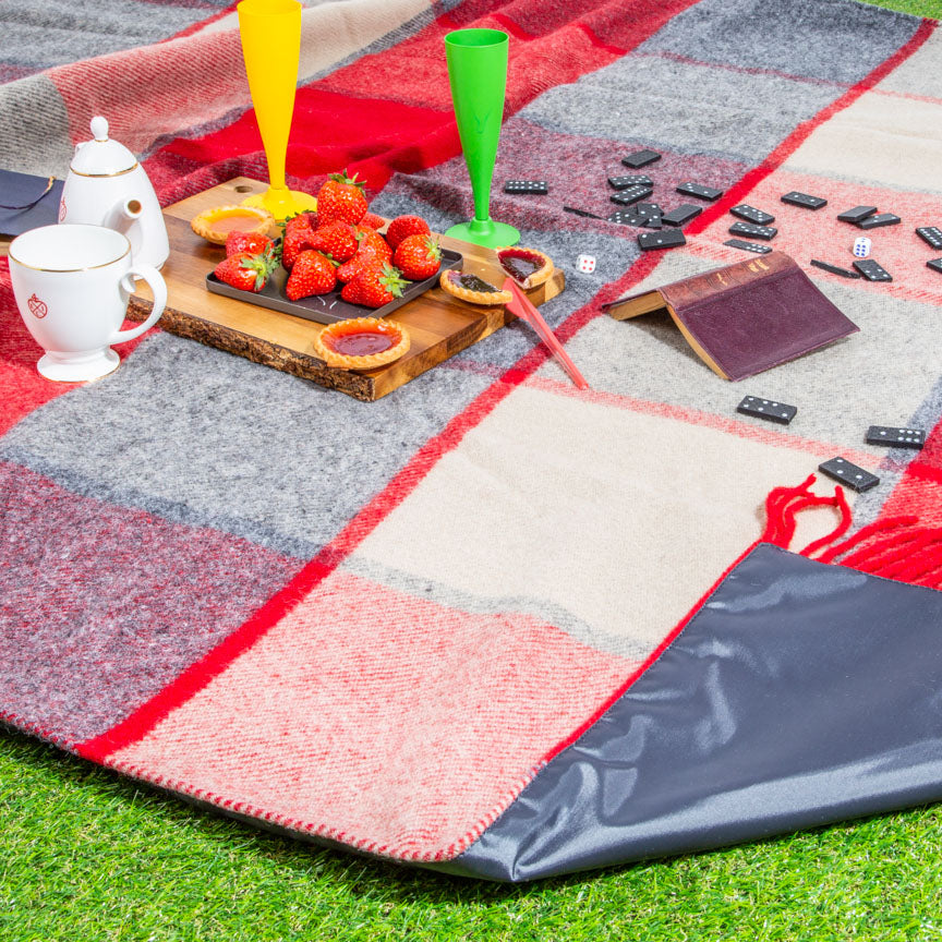tartan  red and grey checked picnic blanket
