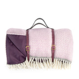 Pure new wool waterproof picnic blanket - Light Lilac