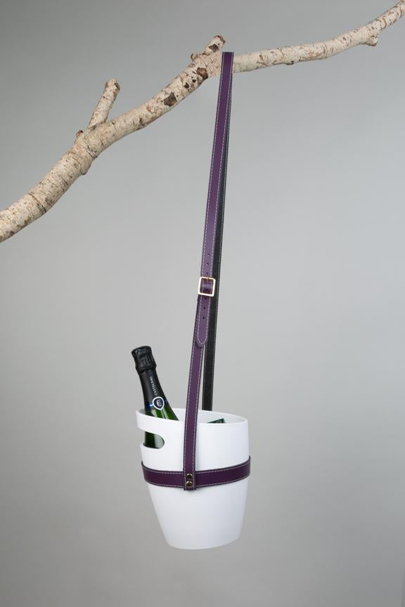 White wine bucket with purple hanging leather strap