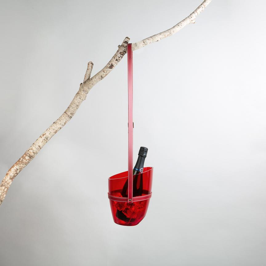 Transparent red wine cooler with hanging strap