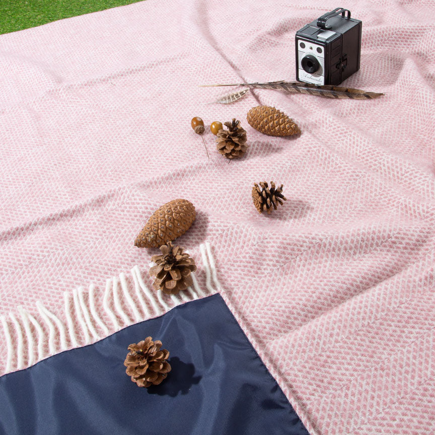 ducky pink picnic blanket with waterproof backing