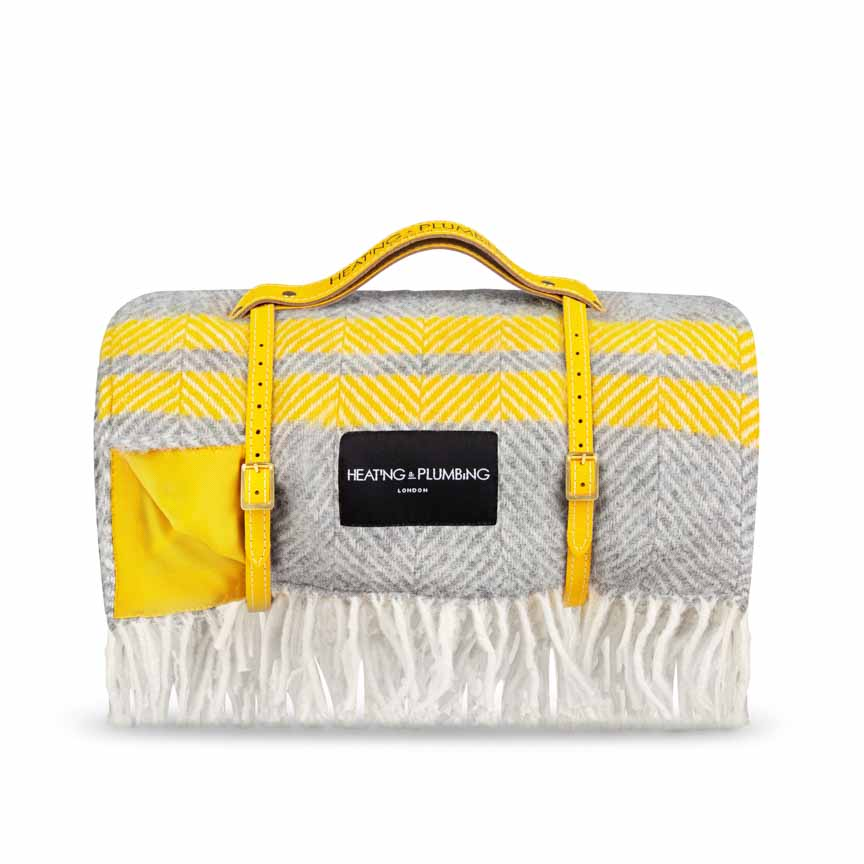 Classic grey wool blanket with 2 yellow stripes and yellow waterproof backing
