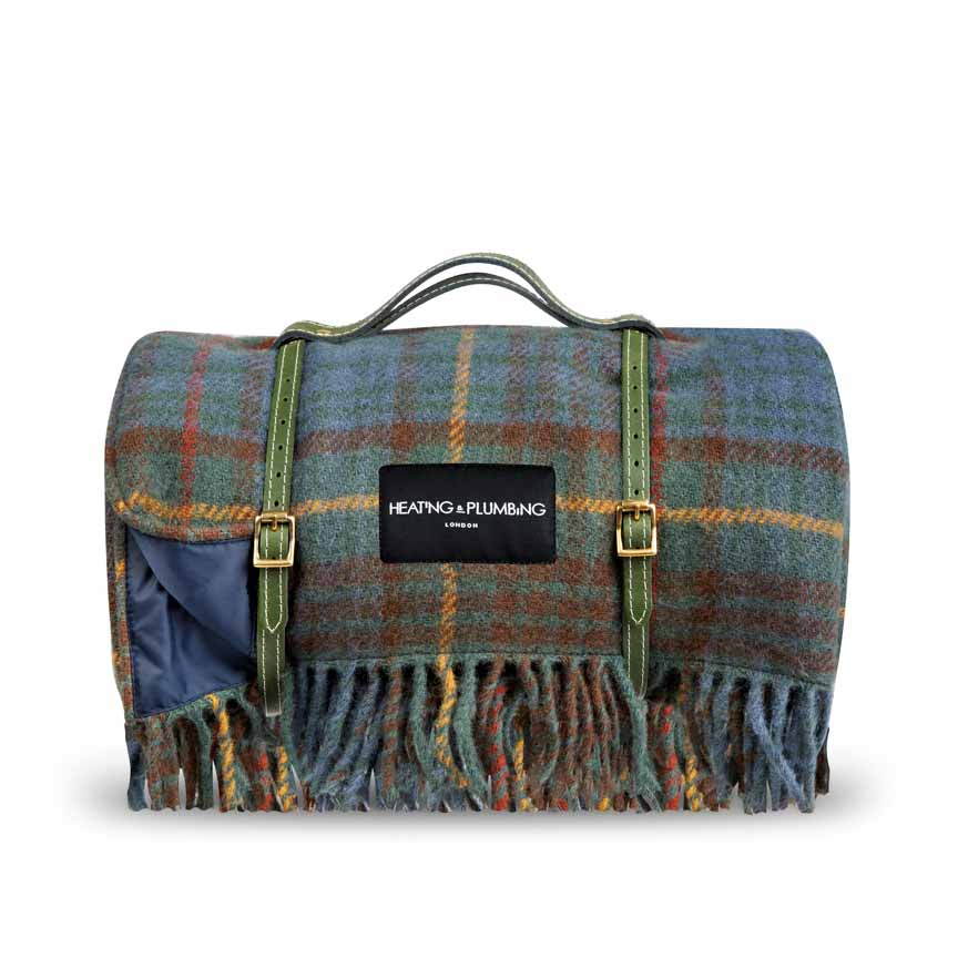 Classic design for these wool picnic throw with waterproof backing