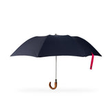 marine blue folding umbrella with wooden handle