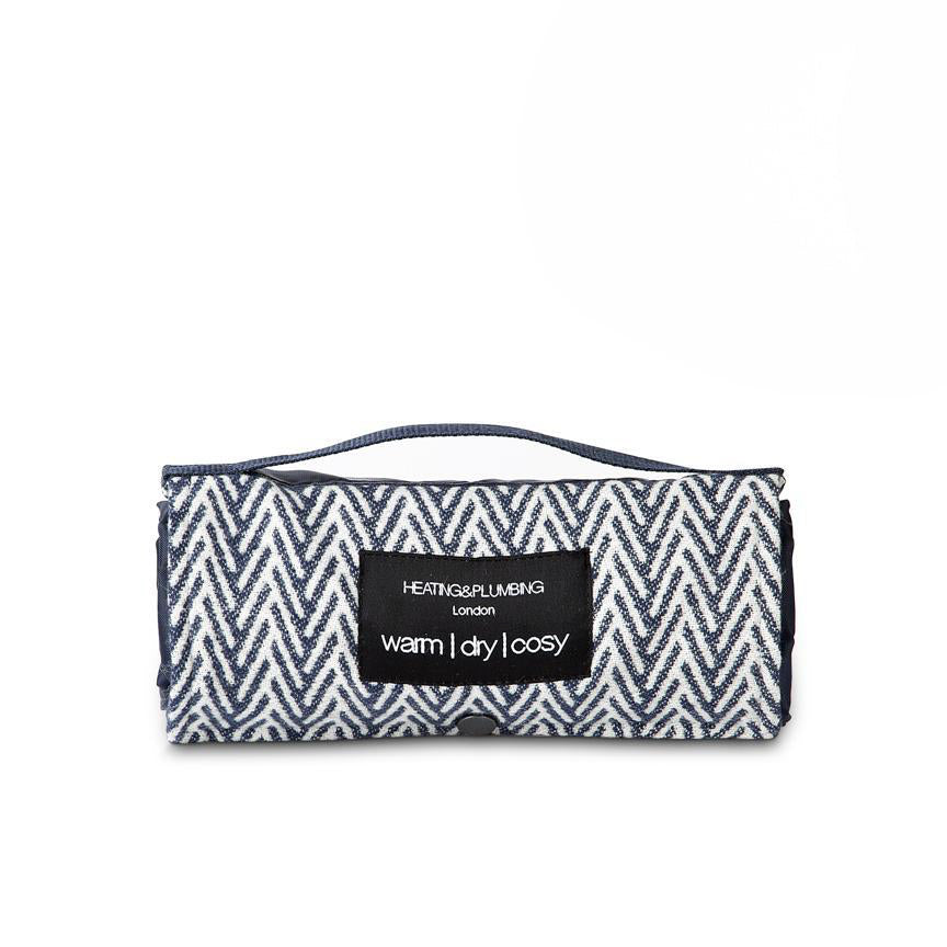 navy blue organic cotton picnic blanket