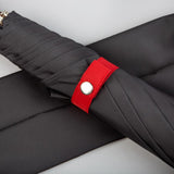 charcoal grey umbrella with red design details