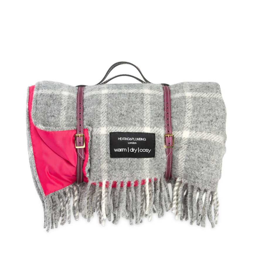 Pure new wool waterproof picnic blanket -  Grey & Pink