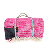 Pure new wool waterproof picnic blanket - Bubble Gum Pink