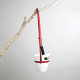 White wine bucket with red leather carrying strap