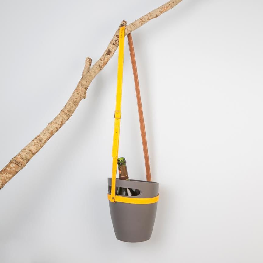 Grey wine bucket with hanging leather strap