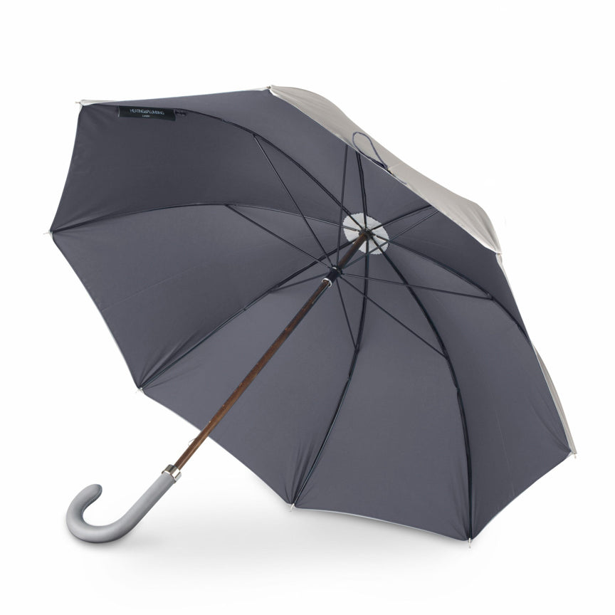 stylish British umbrella in grey and charcoal with leather handle