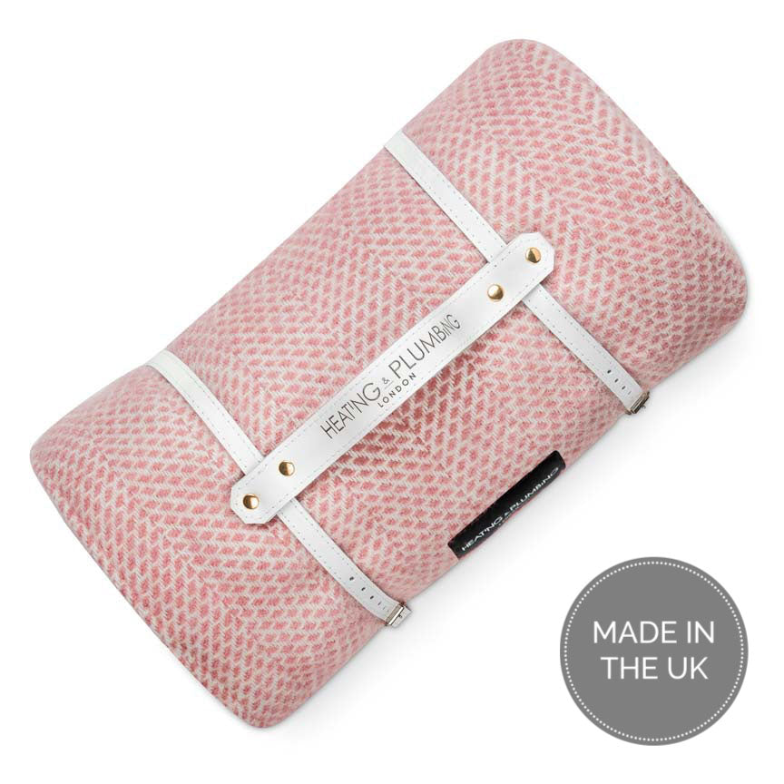 wool picnic blanket in soft pink