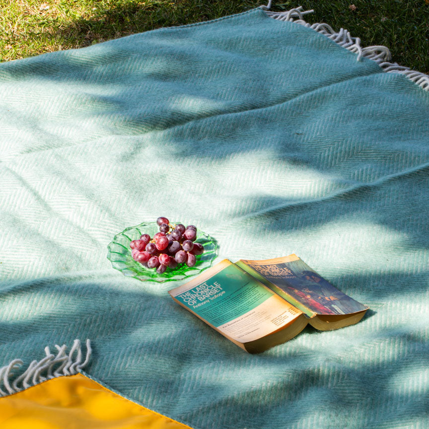 mint green picnic blanket with yellow backing