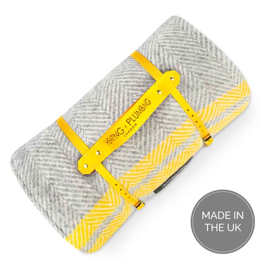 Perfect outdoor blanket with waterproof backing fishbone grey with yellow stripes