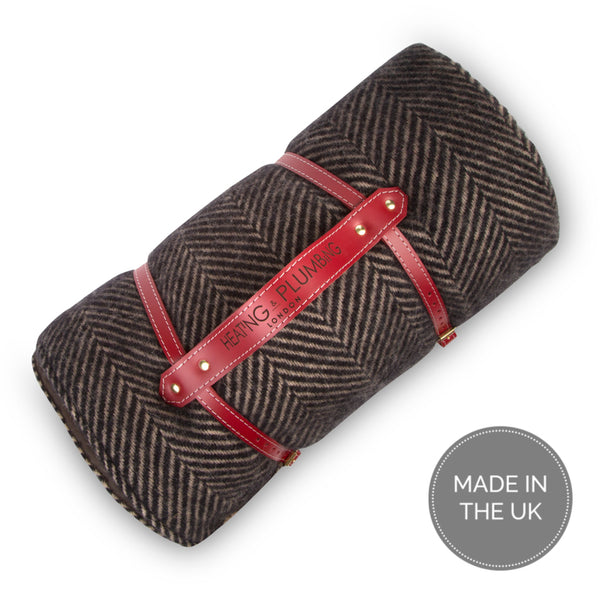 Pure new wool waterproof picnic blanket - Coffee Brown & Black