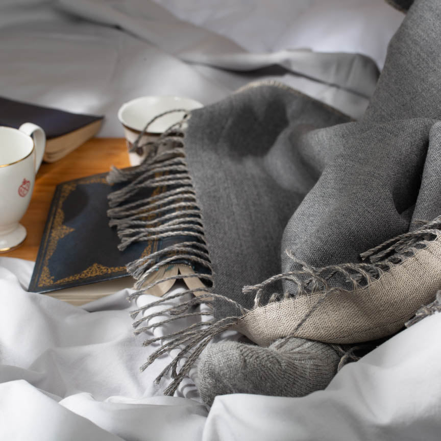 Double sided grey Irish linen and merino throw