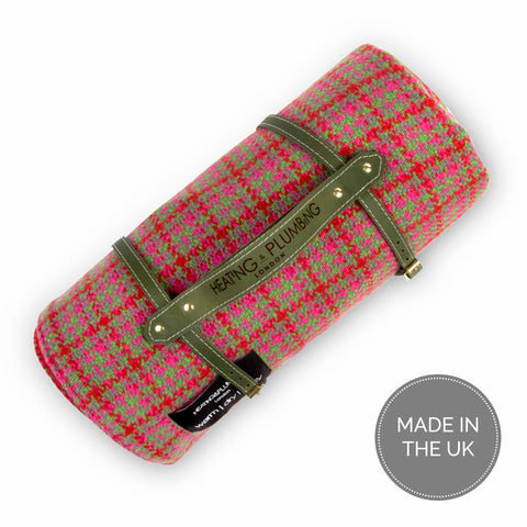 Pure new wool waterproof picnic blanket - Red, Pink & Green