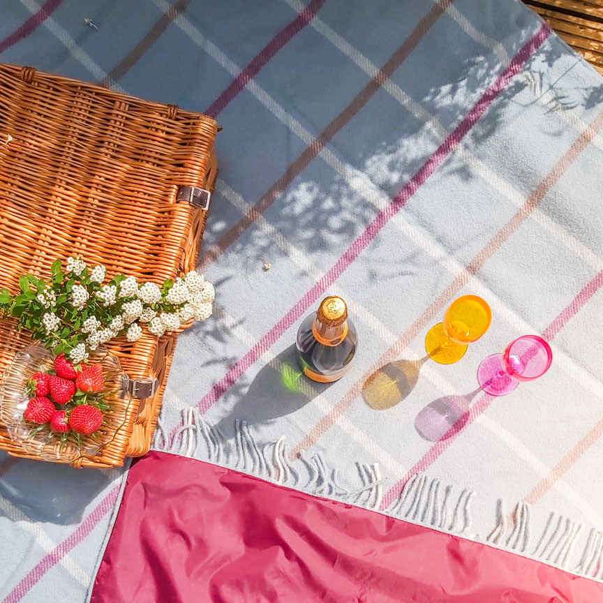 duck egg checked picnic blanket with waterproof backing