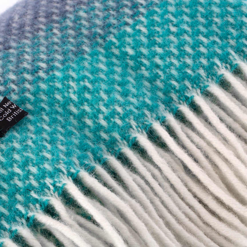 Super Fluffy Pure New Wool Blanket - Grey with shades of turquoise and blue