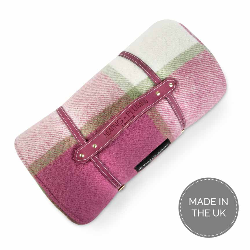 Pink purple  white and green picnic rug in wool with waterproof backing
