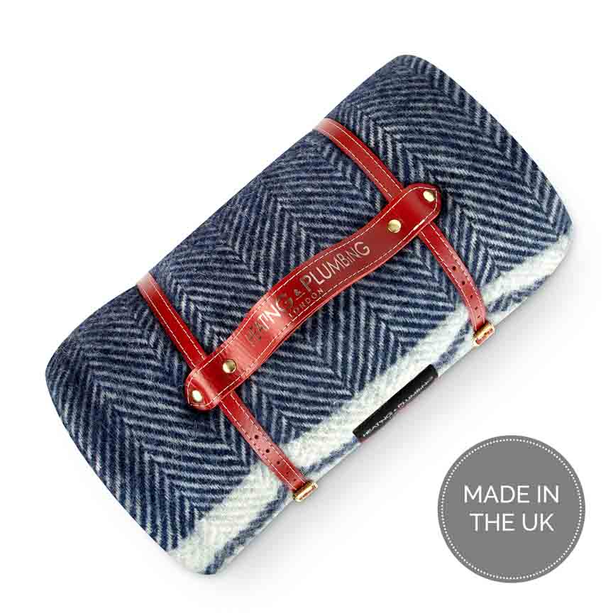 Pure new wool waterproof picnic blanket - Marine Blue with Grey Stripes