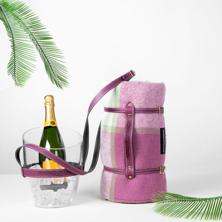 Purple Picnic blanket and Champagne bucket with leather strap combination for posh picnic times.