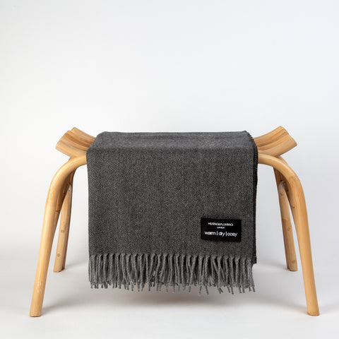 Wonderfully soft Merino Lambswool Throw - Graphite