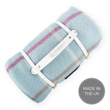 Pure new wool waterproof picnic blanket - Duck Egg Checks