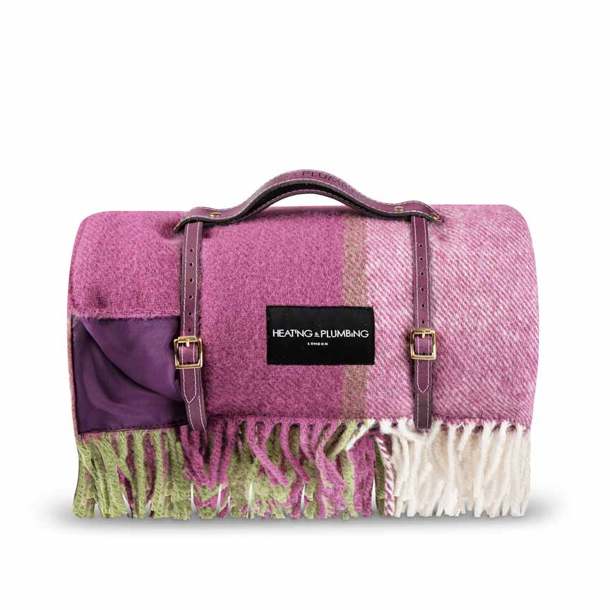 Pure new wool picnic rug with purple leather strap