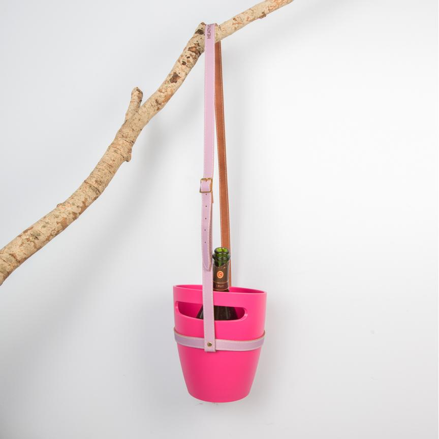 Fuchsia wine bucket with leather strap