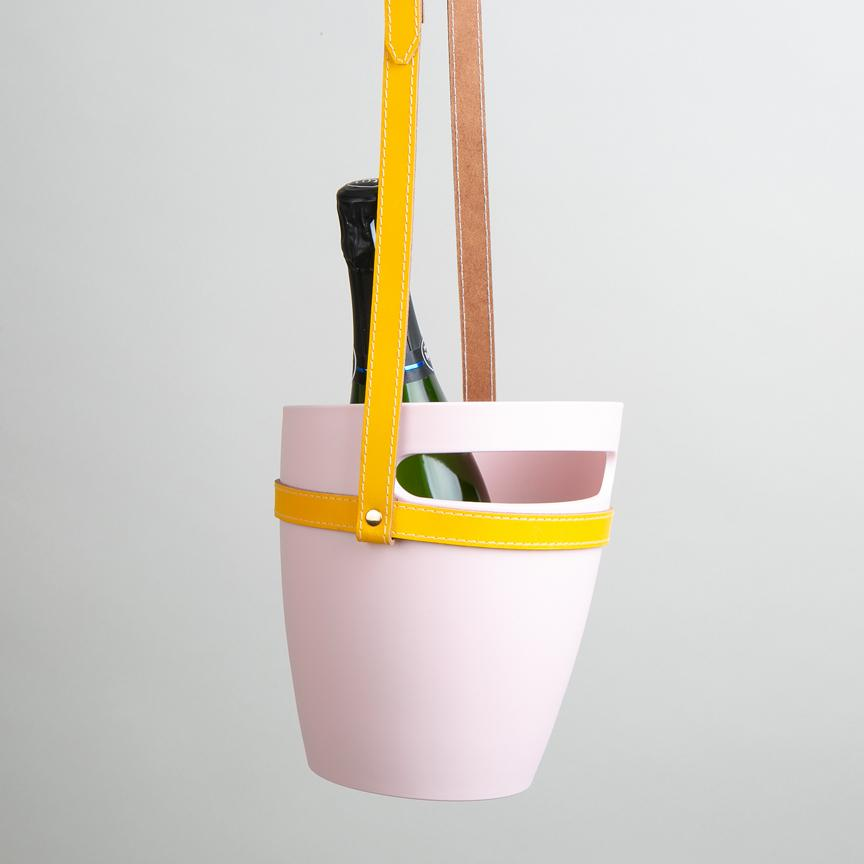 Pink champagne bucket with yellow strap