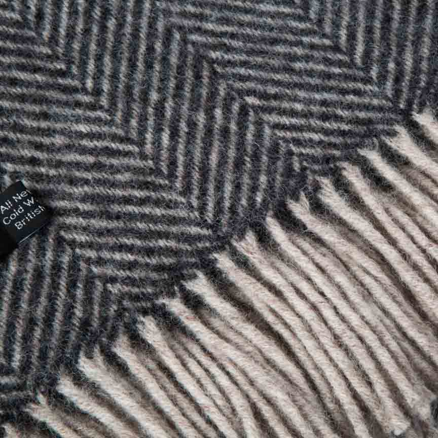 Evening Tales - Pure New Wool Blanket - Traditional Herringbone - Black