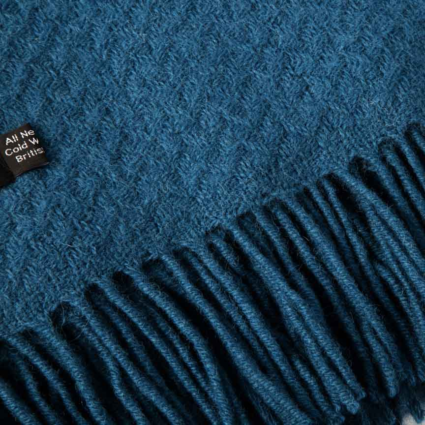 Evening Tales - Soft Pure New Wool Blanket - Contemporary Weave - Blue