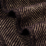 Evening Tales - Pure New Wool Blanket - Traditional Herringbone - Coffee Brown