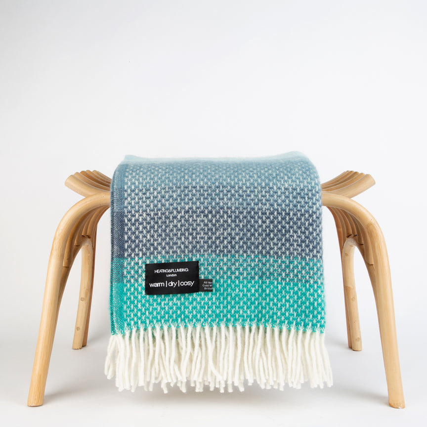 Evening Tales - Pure New Wool Blanket - Super Fluffy - Grey, Turquoise & Blue