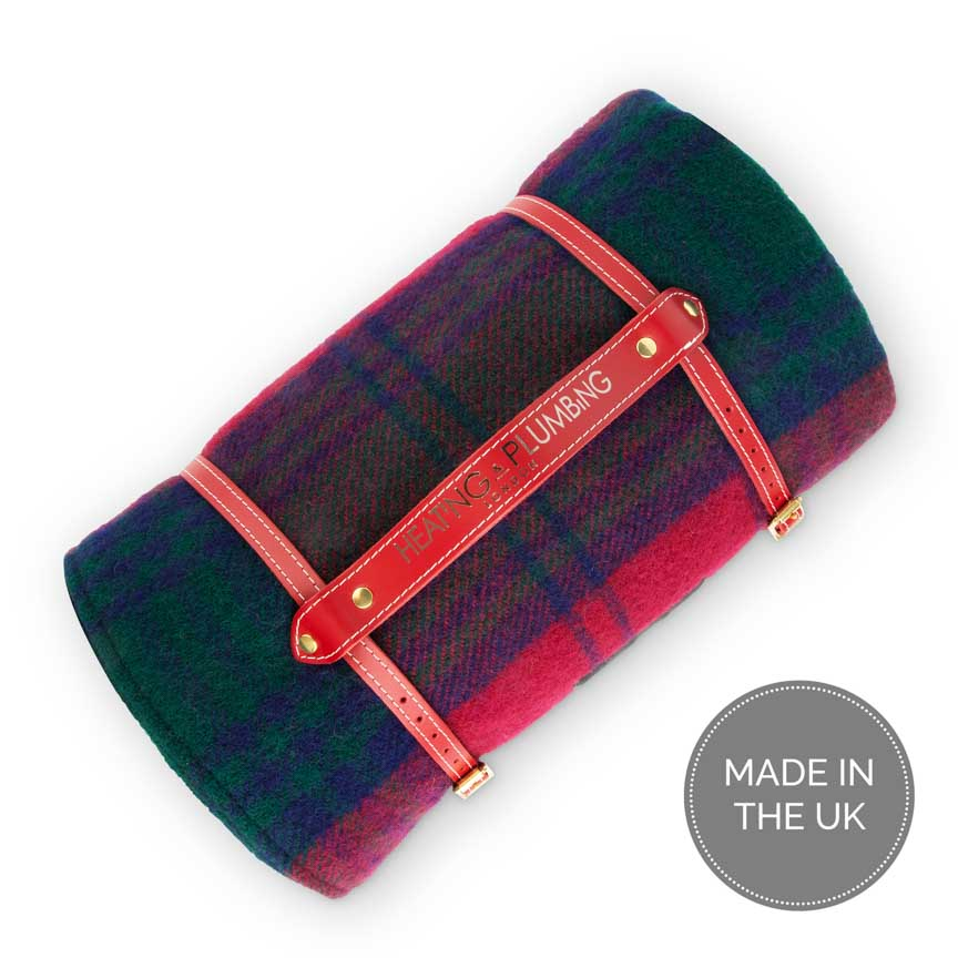 Red check and blue picnic rug with waterproof backing